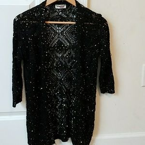 Black Cardigan With Gold Sequin Size M.